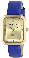 "Akribos XXIV Women's AK749BU ""Lady"" Diamond-Accented Gold-Tone Watch with Blue Leather Band"
