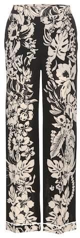 Valentino Floral-printed virgin wool crêpe trousers