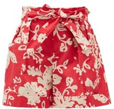 RED Valentino Belted Paperbag-waist Floral-print Cotton Shorts - Womens - Red