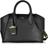 DKNY Chelsea Black Grained Leather Satchel