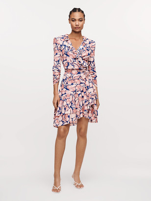 Diane von Furstenberg Paloma Ruffled Mesh Wrap Dress