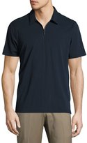 Neiman Marcus Short-Sleeve Half-Zip Polo Shirt, Navy