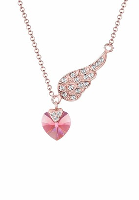 Elli Herz Flugel Swarovski Kristalle 925 Sterling Silver Rose Necklace of Length 45cm