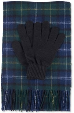 Barbour Men's Tartan Scarf And Glove Gift Set