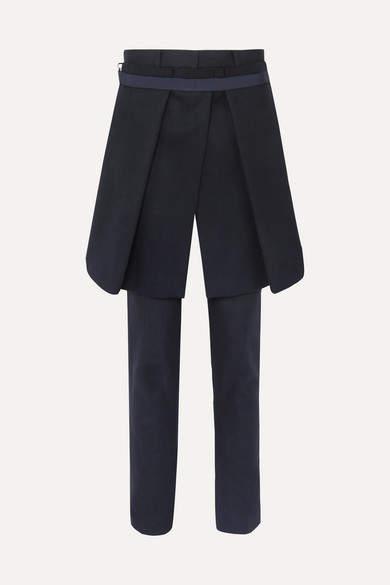 Sacai Melton Convertible Wool-blend Slim-leg Pants - Navy