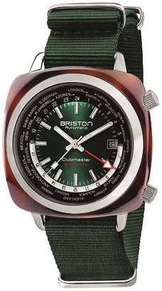 Briston Clubmaster Traveler Worldtime Gmt Automatic, Tortoise Shell, British Green Dial LIMITED EDITION