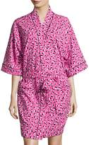 BedHead Demi Ball Dot Short Kimono Robe, Fuchsia/Black
