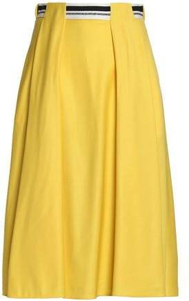 Vionnet Grosgrain-Trimmed Pleated Wool-Blend Skirt