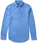 Polo Ralph Lauren Slim-fit Button-down Collar Linen Shirt - Blue