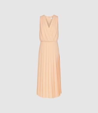 Reiss Mariona - Pleated Midi Dress in Nude