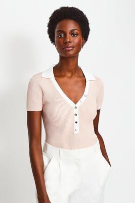 Karen Millen Rib Knitted Collar Top
