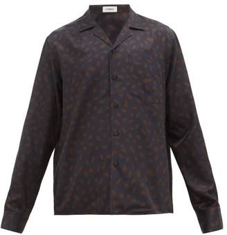 COMMAS Paint Splodge-print Silk-blend Shirt - Mens - Black Orange