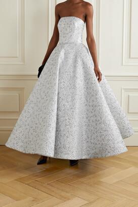 OSCAR DE LA RENTA - Strapless Metallic Brocade Gown - Silver
