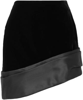 Saint Laurent Asymmetric Silk-satin Trimmed Velvet Mini Skirt