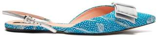 Rochas Bow Embellished Floral Brocade Slingback Flats - Womens - Blue Multi