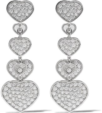Chopard 18kt white gold diamond Happy Hearts earrings