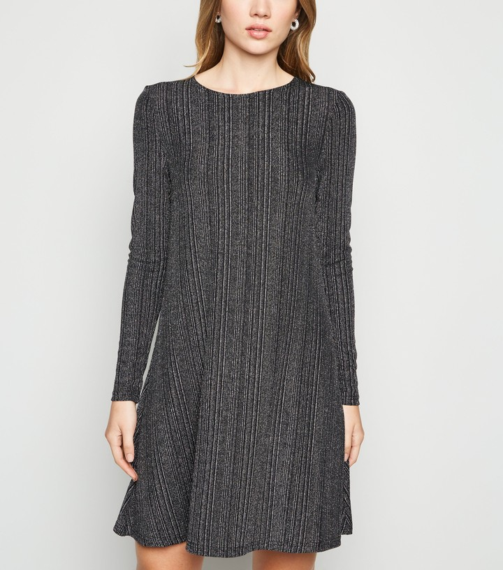 Thumbnail for your product : New Look Glitter Stripe Long Sleeve Dress