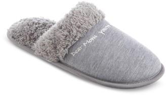 "Isotoner Women's Dear Mom"" Faux Fur & Knit Clog Slippers"