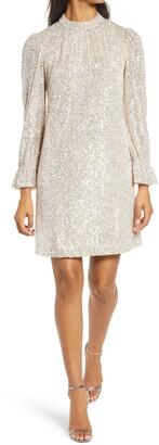 Julia Jordan Sequin Long Sleeve Shift Dress