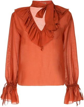 Flow The Label ruffled neck blouse