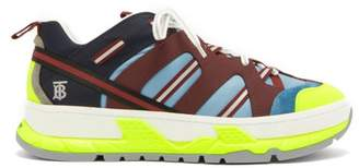 Burberry Union Low Top Nubuck And Mesh Trainers - Mens - Blue Multi