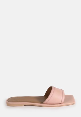 Missguided Pink Square Toe Simple Strap Flat Sandals