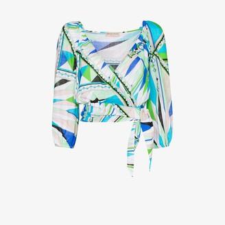Emilio Pucci Bes print cotton wrap top