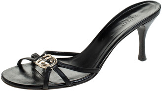 Gucci Black GG Interlocking Leather Strappy Slide Sandals Size 38.5