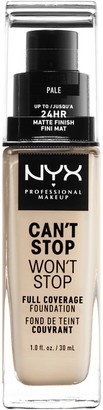NYX Can'T Stop Won'T Stop 24 Hour Foundation 30Ml Pale (Light, Warm)