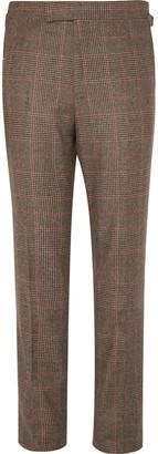 Kingsman Brown Slim-Fit Prince Of Wales Checked Wool Suit Trousers