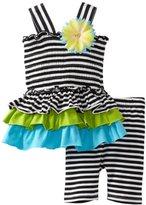 Bonnie Baby Girls Infant Stripe Tiered Knit Legging Set