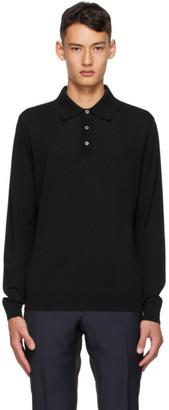 Dunhill Black Merino Long Sleeve Polo