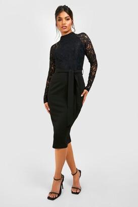 boohoo High Neck Long Sleeve Lace Midi Dress