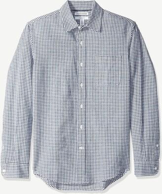 Amazon Essentials Men's Slim-Fit Long-Sleeve Plaid Linen Shirt