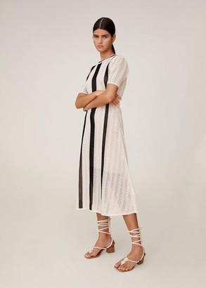 MANGO Open-work bicolor dress ecru - 4 - Women