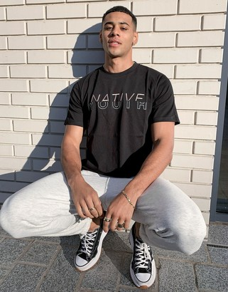 NATIVE YOUTH logo front t-shirt in black
