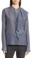 Robert Rodriguez Women's Vertical Stripe Ruffle Shirt