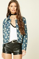 Forever 21 FOREVER 21+ Distressed Star Denim Jacket