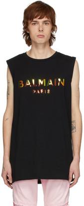 Balmain Black Hologramme Logo Tank Top
