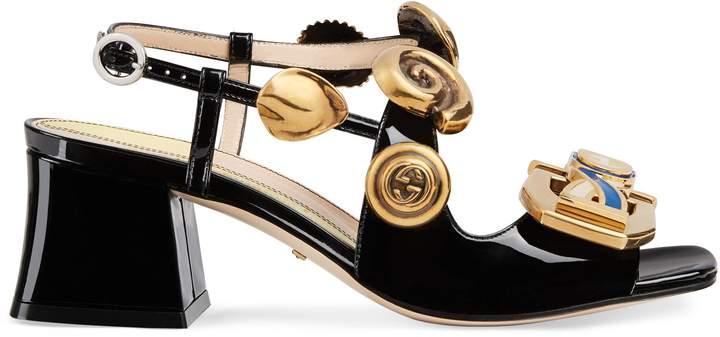 Gucci Mid-heel sandal with Interlocking G buckles
