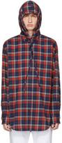Balenciaga Red Hooded Flannel Shirt