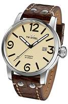 TW Steel Men's 'Maverick' Quartz Stainless and Leather Casual Watch, Color:Brown (Model: MS26)