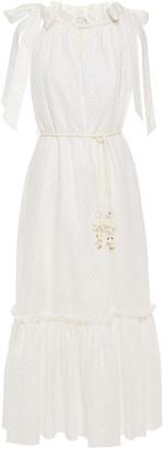 Zimmermann Zinnia Belted Gathered Metallic Polka-dot Linen Midi Dress