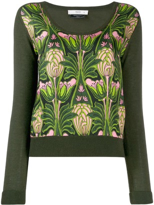 Prada Pre Owned 1990's Floral Print Knitted Blouse