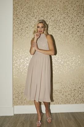 Little Mistress Bridesmaid Charli Mink Hand-Embellished Midi Dress