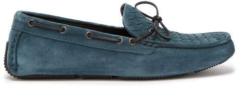 Bottega Veneta Wave Intrecciato Suede Driving Loafers - Mens - Blue
