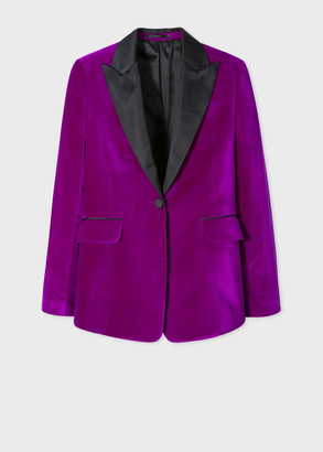 Paul Smith Women's Slim-Fit Purple One-Button Velvet Tuxedo Blazer