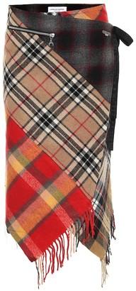 Marine Serre Asymmetric checked wool midi skirt