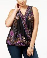 INC International Concepts Plus Size Surplice-Neck Top, Created for Macy's
