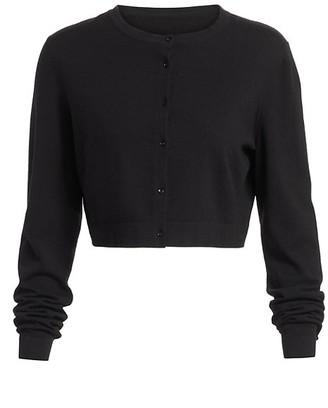 Alaia Basic Cropped Wool-Blend Cardigan